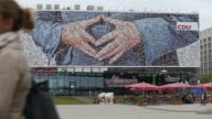 Long Shot A giant election campaign poster of the German Christian Democrats showing the hands of German Chancellor Angela Merkel on September 3 2013...