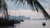 Long shot across Halong Bay, Vietnam.