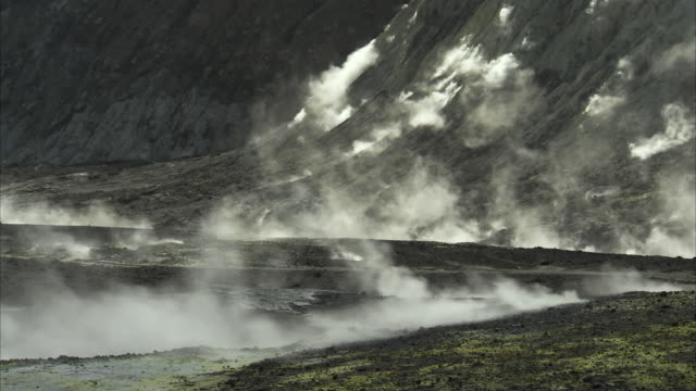 Long shot across the geothermal landscape of White Island, New Zealand.