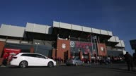 Long shot Anfield Stadium view from across the street Liverpool v Swansea on February 17 2013 in Liverpool England