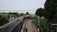 Long shot arrivals at Castle Cary Train Station
