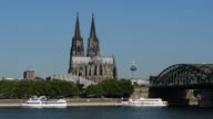 Long Shot Cologne Cathedral view from bank of river Rhine