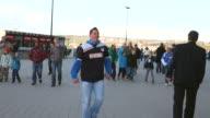 Long Shot fans arrive in front of the Wirsol RheinNeckar Arena prior to the Bundesliga match between TSG 1899 Hoffenheim and Hertha BSC Berlin at...