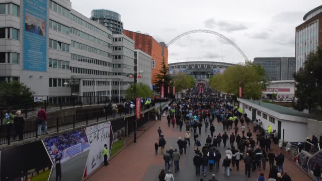 Long shot fans arriving at Wembley stadium Manchester City v Wigan Athletic FA Cup Final at Wembley Stadium on May 11 2013 in London England