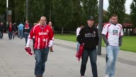 Long Shot fans of Koeln walk to the RheinEnergiestadion prior to the the Second Bundesliga match between 1 FC Koeln and 1 FC Kaiserslautern at...