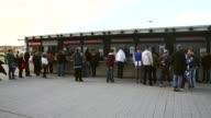 Long Shot fans wait in front of cash boxes prior to to the Bundesliga match between TSG 1899 Hoffenheim and Hertha BSC Berlin at Wirsol RheinNeckar...