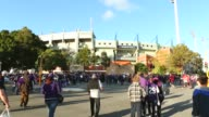 Long Shot Football fans walk to Patersons Stadium for the 2013 AFL Preliminary final between the Fremantle Dockers and the Sydney Swans