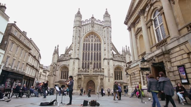 Long shot of Bath Abbey Historic City Of Bath Experiences Spring Weather on April 24 2013 in Bath England