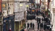 Long shot of Beak Street Police are seen on Beak Street where anti G8 protesters had occupied a building on June 11 2013 in London England Next week...