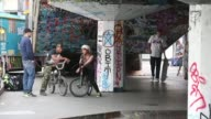 Long shot of bmx riders talking Skateboarding's South Bank Home Under Threat at Southbank Centre on May 18 2013 in London England