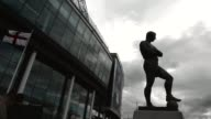 Long shot of Bobby Moore statue in front of Wembley stadium Manchester City v Wigan Athletic FA Cup Final at Wembley Stadium on May 11 2013 in London...