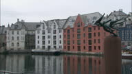 Long shot of buildings on the quayside at Alesund.