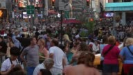 Long shot of crowds at Times Square New York
