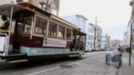Long shot of departing cable car Tourists come from all over the world to see San Franciscos iconic cable cars the last manually operated cable car...