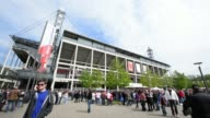 Long shot of exterior of RheinEnergieStadion 1 FC Koeln v TSV 1860 Muenchen 2 Bundesliga Editorial Video Footage at RheinEnergieStadion on April 28...