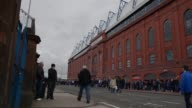 Long shot of fans gathering outside of the Ibrox stadium Rangers v Berwick Rangers IRNBRU Scottish Third Division at Ibrox Stadium on May 04 2013 in...