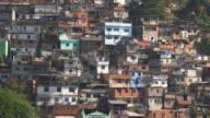 Long shot of favela houses, Rio de Janeiro.