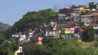 Long shot of houses in a favela, Rio de Janeiro.