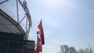 Long shot of Leverkusen flag with club crest Bayer 04 Leverkusen v TSG 1899 Hoffenheim Bundesliga Editorial Video Footage at BayArena on April 20...