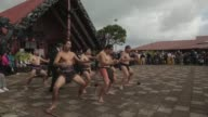 Long shot of Maori warriors performing traditional war dance New Zealand Taniwha and Dragon Festival on April 27 2013 in Auckland New Zealand Long...