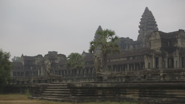 Long shot of the Angkor Wat temple complex in Cambodia.