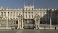 Long shot of the exterior of the Royal Palace of Madrid, Spain.