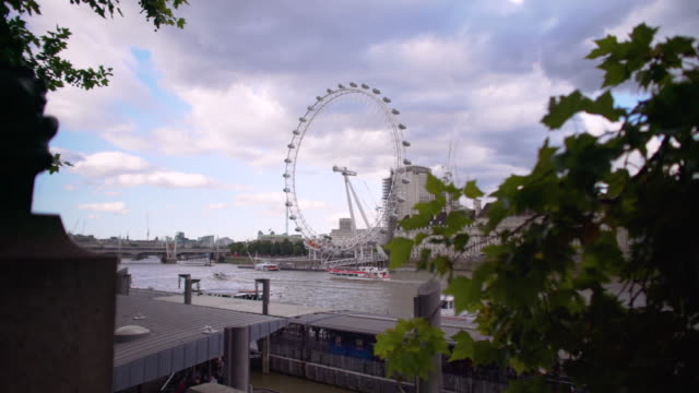 Long shot of the London Eye and the River Thames.