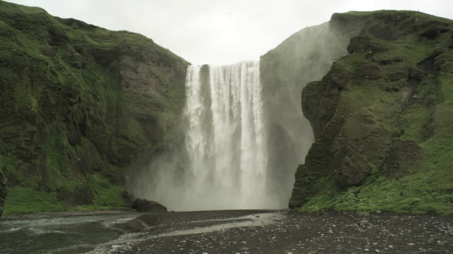 Long shot of water flowing over the Skogafoss waterfall in Iceland.