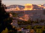 long shot Parthenon + Acropolis / Athens, Greece