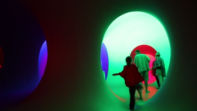 Long Shot People explore Colourscape on the front lawn of Holburne Museum on August 23 2013 in Bath England The Colourscape Music Festival which runs...
