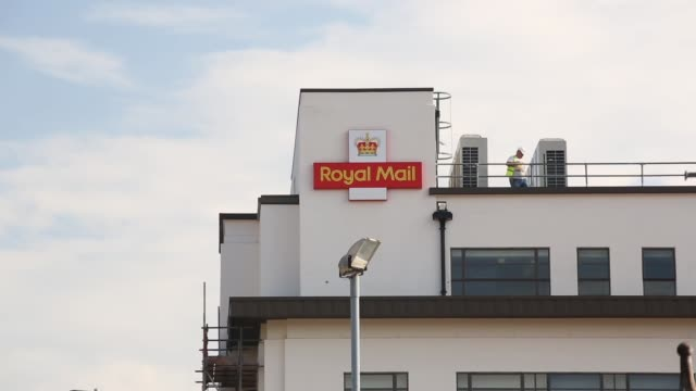 Long Shot Royal Mail logo and signage on top of The Mount Pleasant sorting office