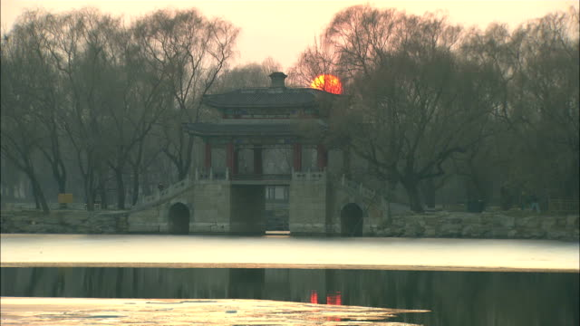 Long Shot static - The sun sets behind the Summer Palace as it reflects in Kunming Lake./Beijing, China