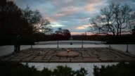 Long Shot the eternal flame burns at the gravesite of the 35th President of the United States John F Kennedy at Arlington National Cemetery in...