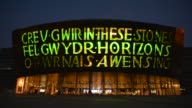 Long Shot Wales Millennium Centre at night on October 23 2013 Wales Millennium Centre is an arts centre located in the Cardiff Bay area of Cardiff...