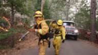 Long tracking Shot Firefighter Extending A Water Hose Firefighters from Ebbetts Pass Fire District light back fires as they battle the Rim Fire on...