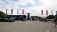 Long Tracking Shot Hamburg Team Bus arriving at the Imtech Arena