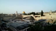 Long view of the Wailing Wall and Temple Mount with the Dome of the Rock in the background
