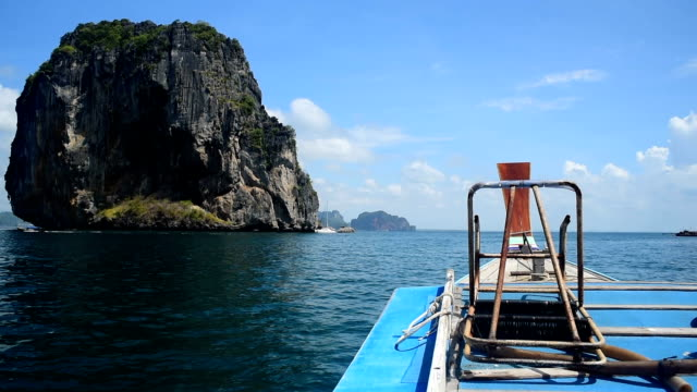 Longtail boat traditional travel Krabi island at Thailand