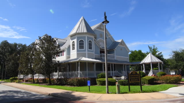 Longwood Florida historic Victorian Home called Longwood Community Building in downtown small town, 4K