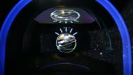 A look inside IBM Watson Groups new headquarters at 51 Astor Place in New York NY Close up shots of the spinning digital orb of IBMs Watson super...