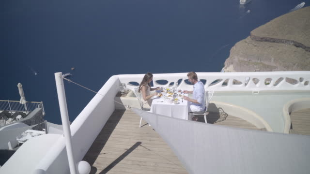 Looking down at luxury breakfast on terrace