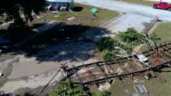 Kijken naar recht naar beneden alle het puin van Orkaan Harvey La Grange, Texas kleine stad Gulf Coast schade zone van Orkaan Harvey Path of Destruction.