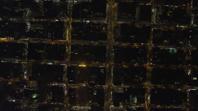 Looking straight down on streets of Midtown Manhattan at night. Shot in November 2011.