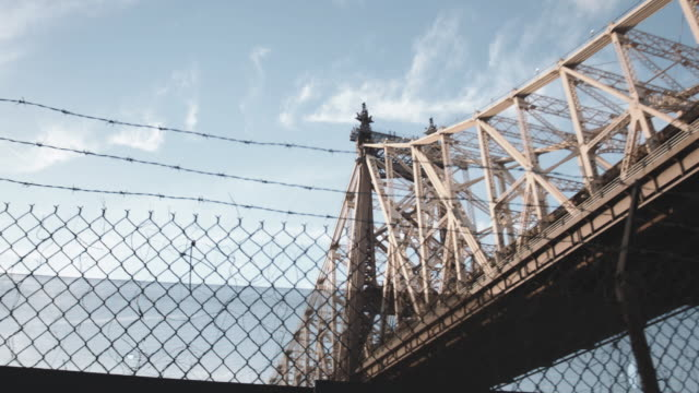 Looking up at NYC's Queensboro Bridge on a summer afternoon.