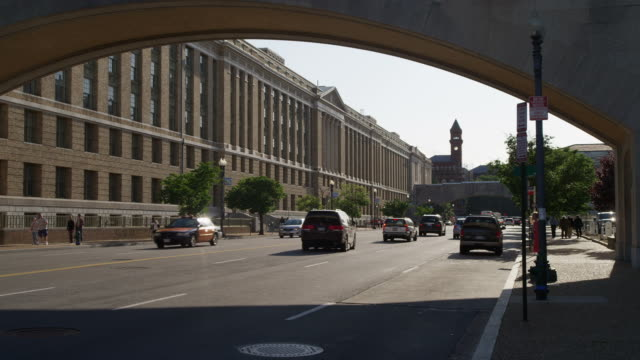 Looking west on Indiana Avenue from 12th Street in Washington DC. Shot in May 2012.