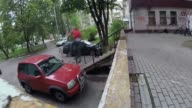 Looks like this BMX stunt didn't exactly go as planned Watch as an unlucky rider loses control off a staircase jump and lands straight into a parked...