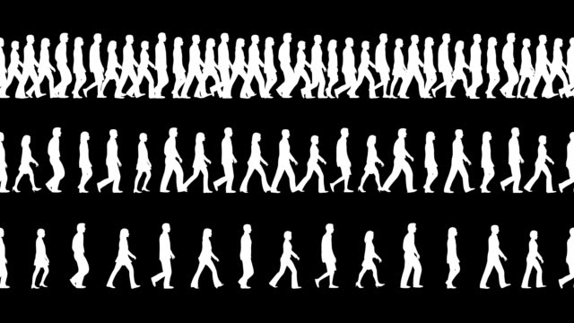 Loopable and tileable Silhouettes of People walking