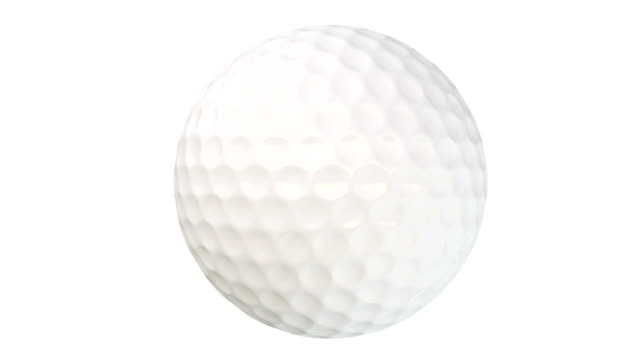 Loopable animation video of spinning golf ball with alpha matte