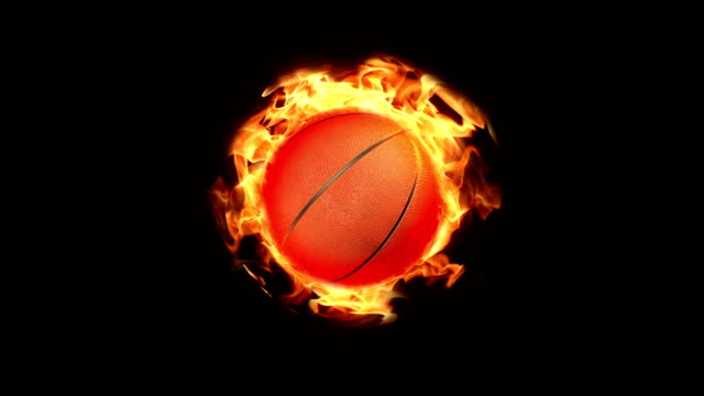 Loopable basketball on fire background