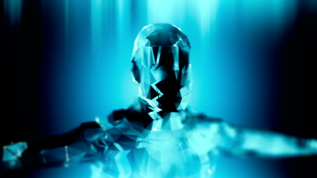 Loopable blue android robot artificial inteligence technology background